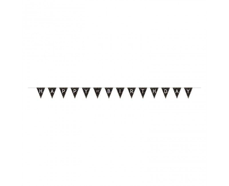 Vlaggenlijn sparkling Happy Birthday met DIY cijfer stickers