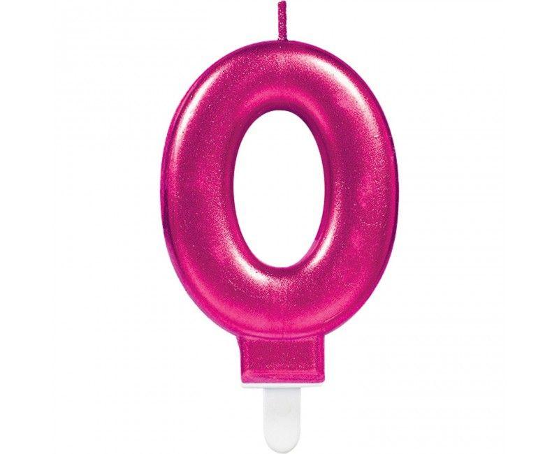 Taartkaars roze cijfer 0