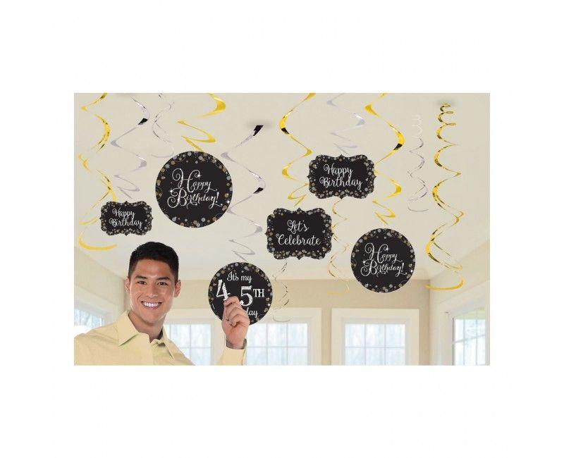Swirl hangdecoatie sparkling Happy Birthday met DIY cijfer stickers