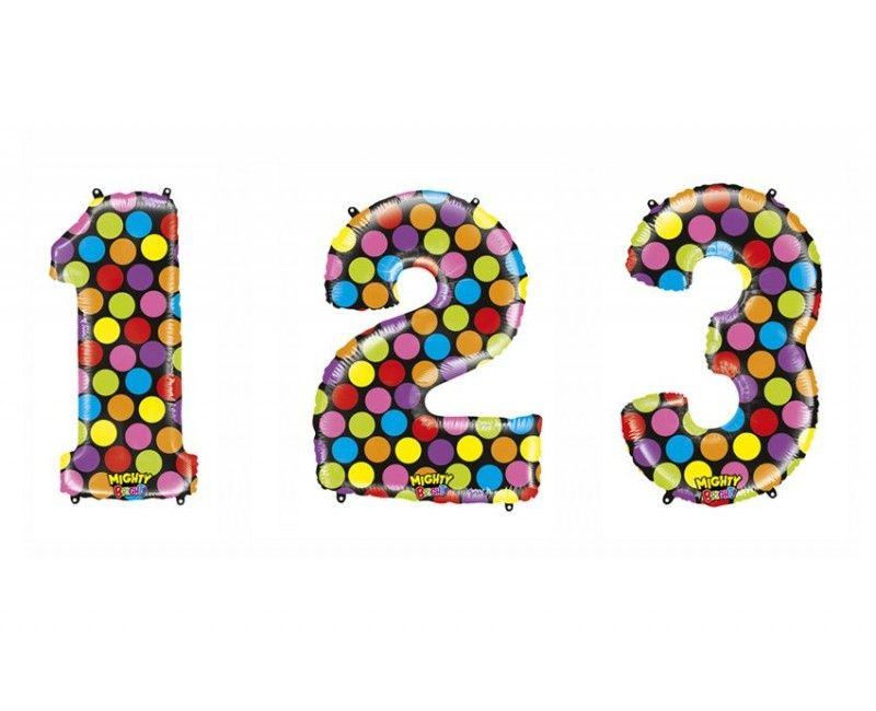 Folieballon cijfers 100cm confetti