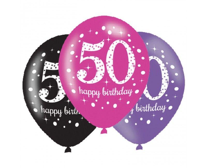 Ballonnen sparkling Happy Birthday pink 50 jaar, 6 stuks