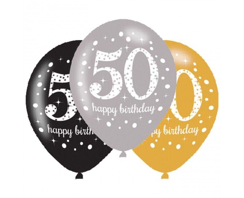 Ballonnen sparkling Happy Birthday goud 50 jaar, 6 stuks