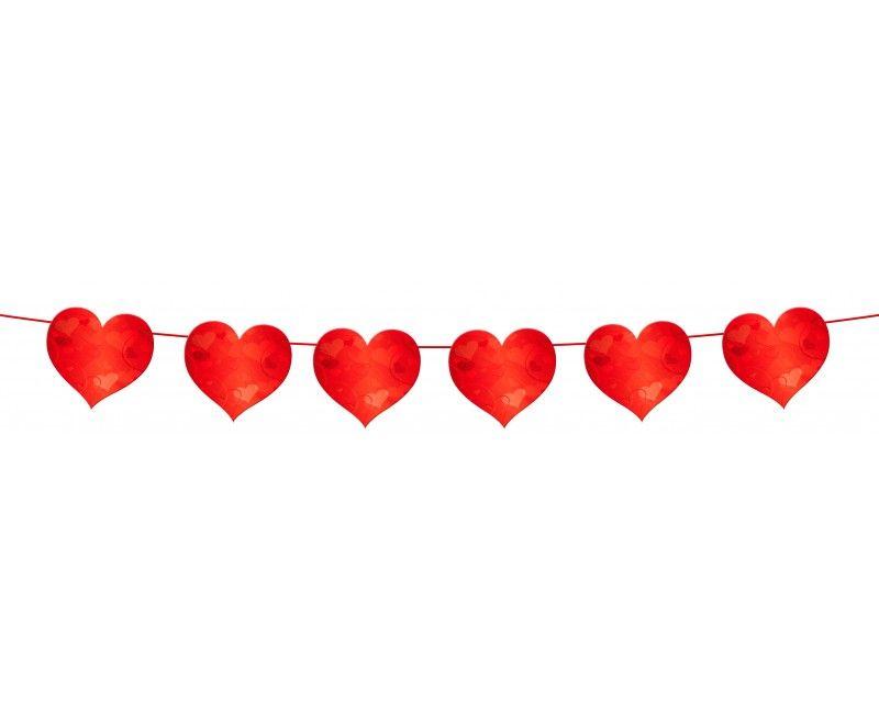 Papieren vlaggenlijn slinger rode harten met satijn lint, 6 meter
