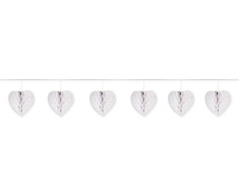 Slinger met 6 witte honeycomb harten en satijn lint, 4 meter