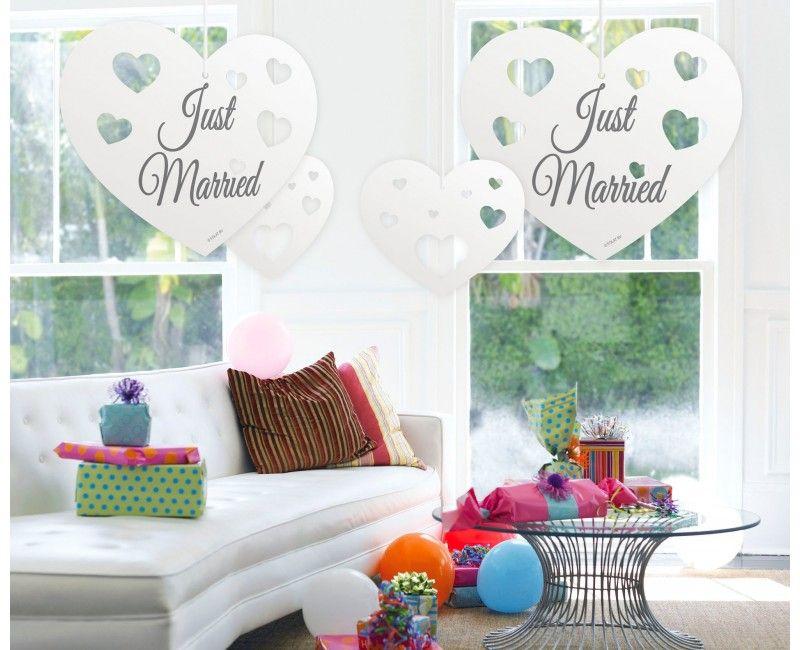 Hangdecoratie papieren harten Just Married, 5 stuks