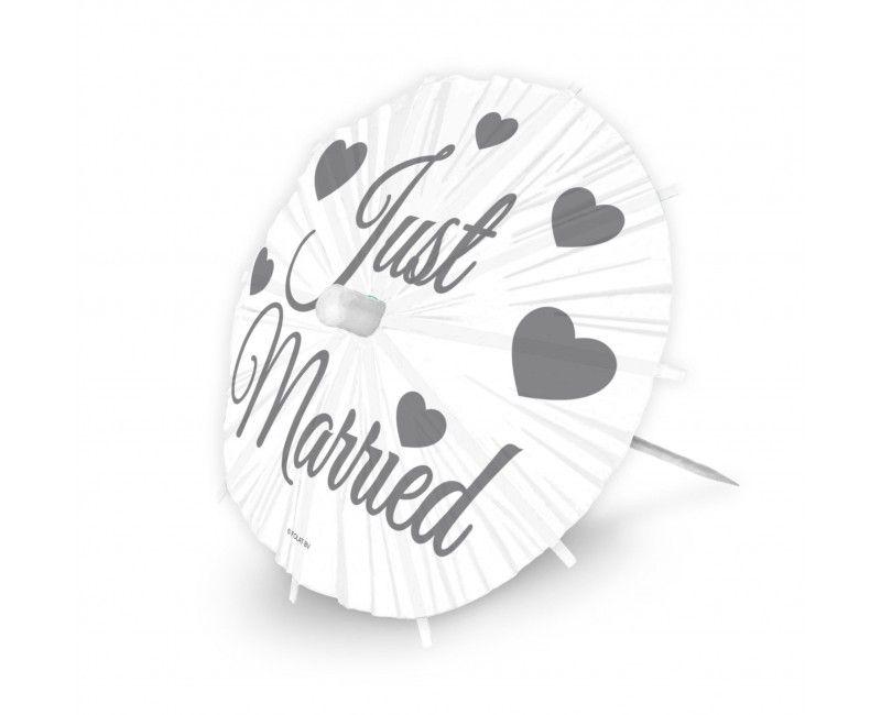 Party prikkers Just Married paraplu, 8 stuks