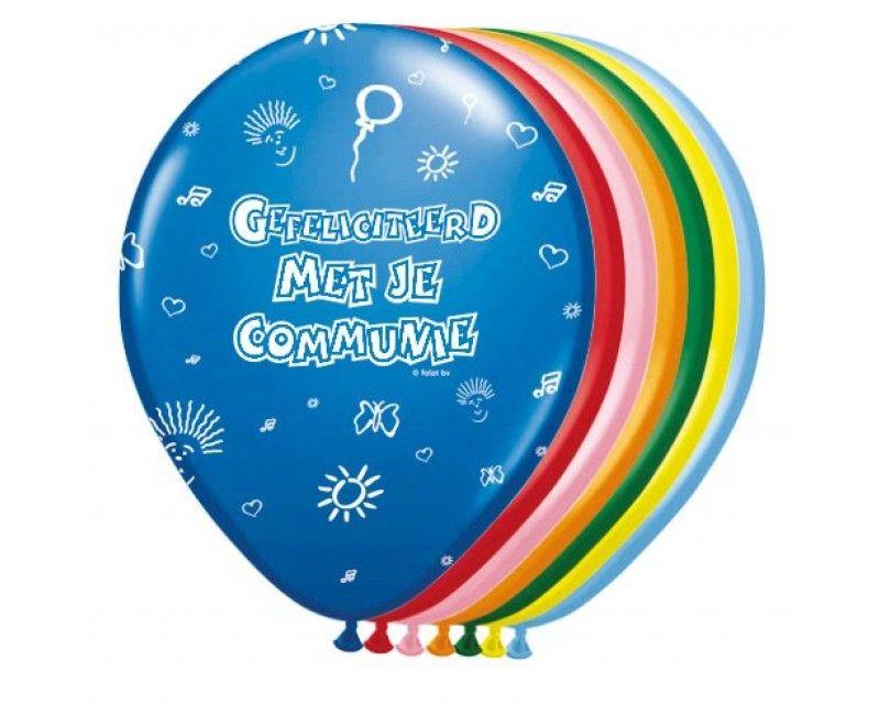 Ballonnen Communie 8 stuks, mix kleuren