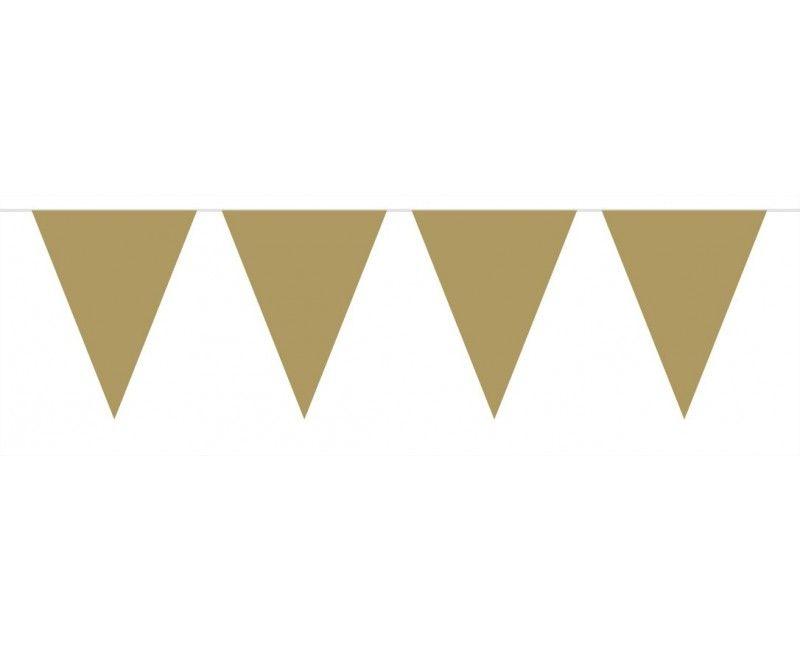Vlaggenlijn slinger 10 meter goud metallic