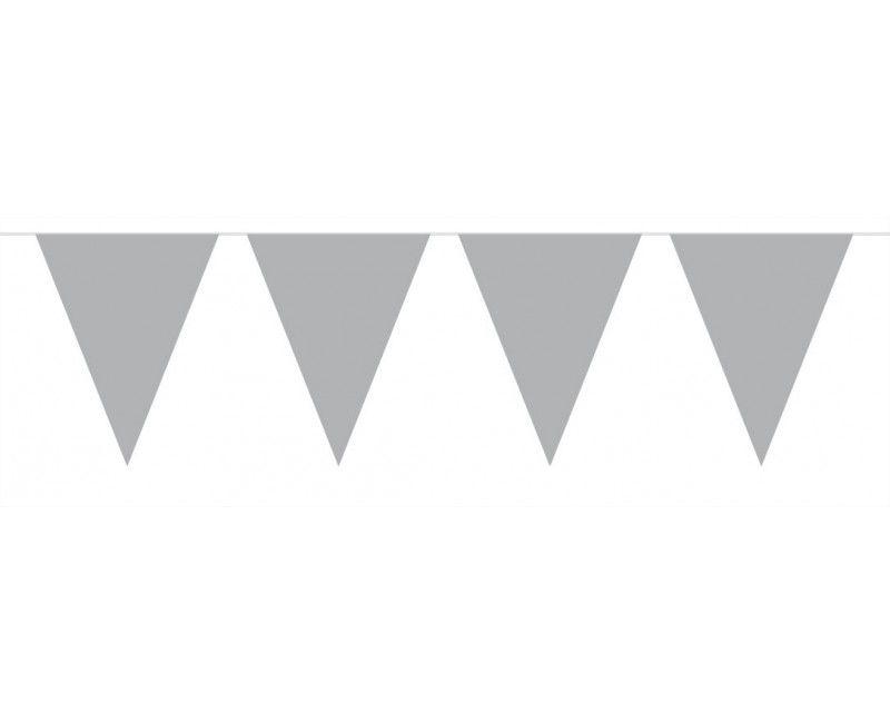 Vlaggenlijn slinger 10 meter zilver metallic