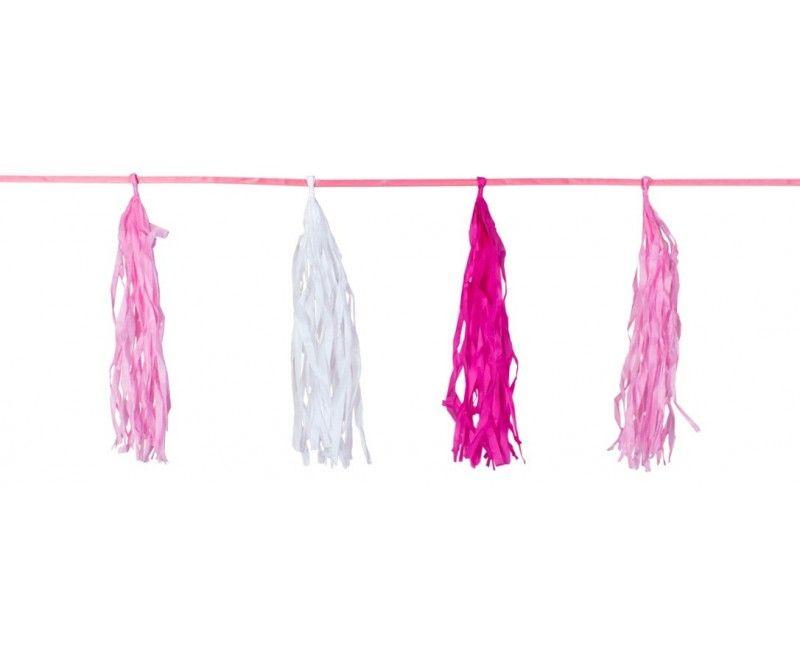 Tassel slinger roze en wit