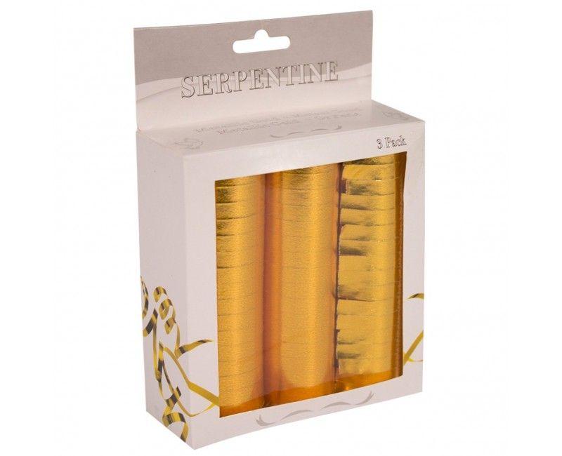 Werp serpentines goud metallic, 3 x 18 stuks