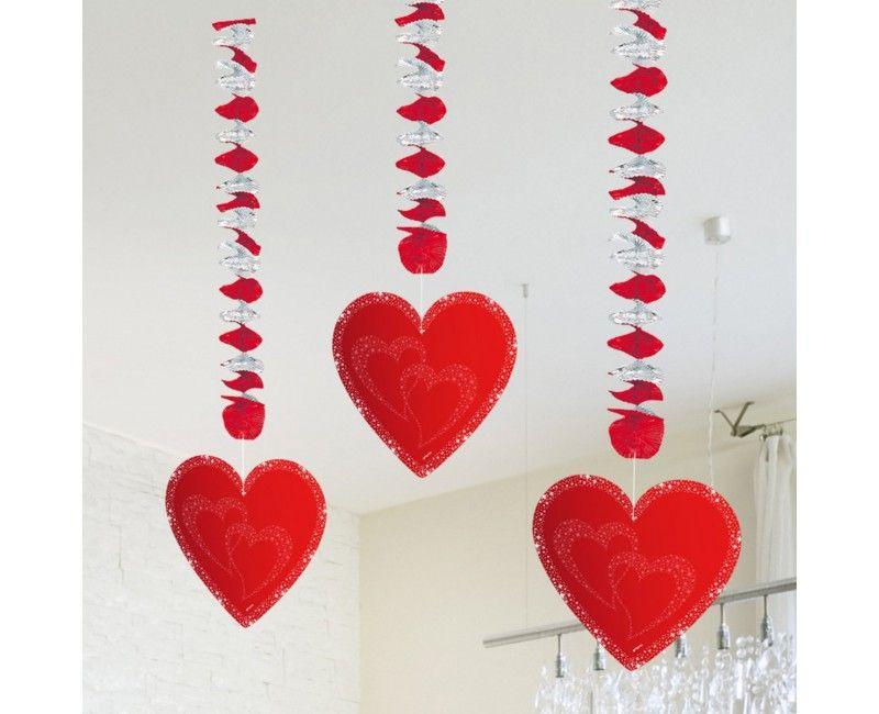 Hangdecoratie rode harten glitter, 3 stuks