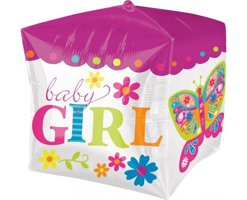 Folieballon Baby Girl kubus