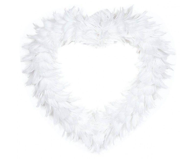 Decoratie hart met veren, 35 cm