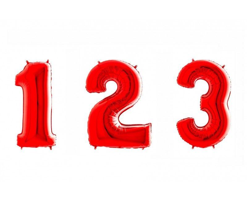 Folieballon cijfers 100cm rood