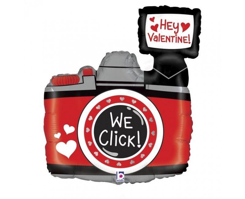 Folieballon Hey Valentine we click