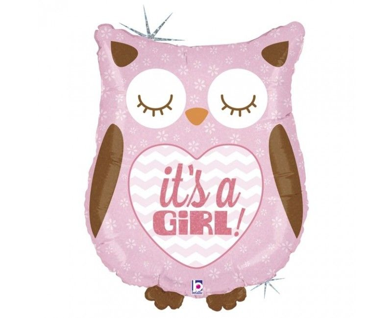 Folieballon It's a girl Owl