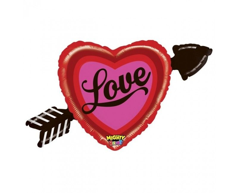 Folieballon Mighty heart with arrow love