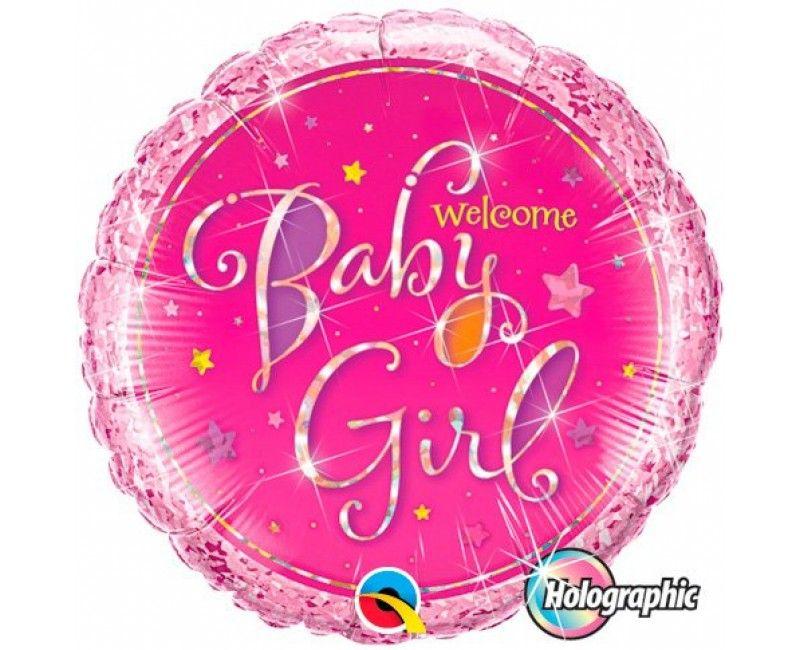 Folieballon 45cm Welcome Baby girl