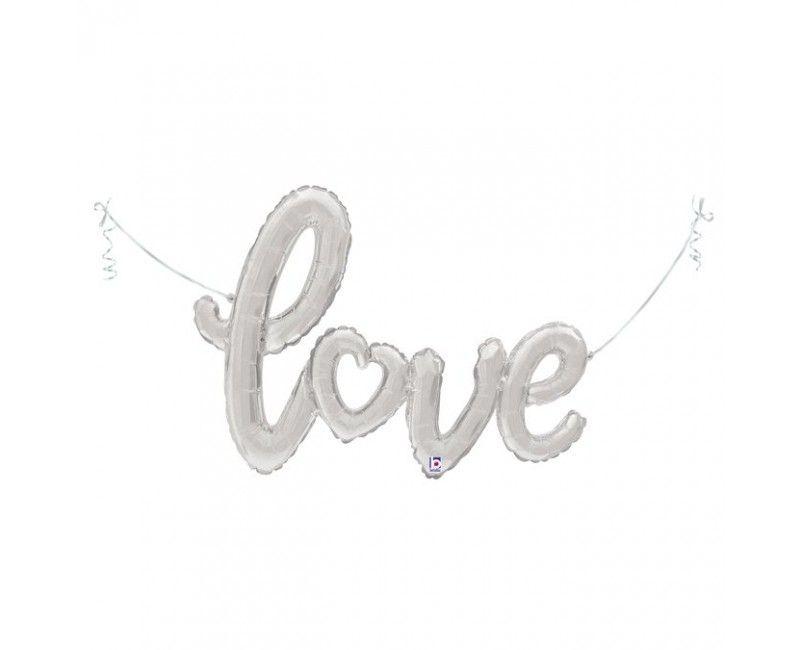 Folieballon Love zilver 119cm