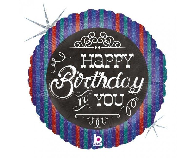 Folieballon 45cm krijtbord Happy Birthday to you