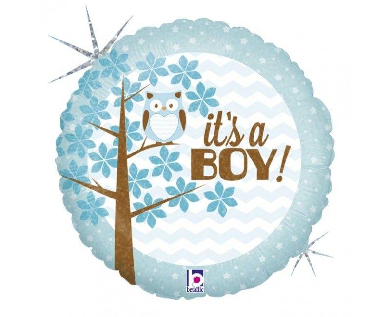 Folieballon it's a boy baby, round 46 cm