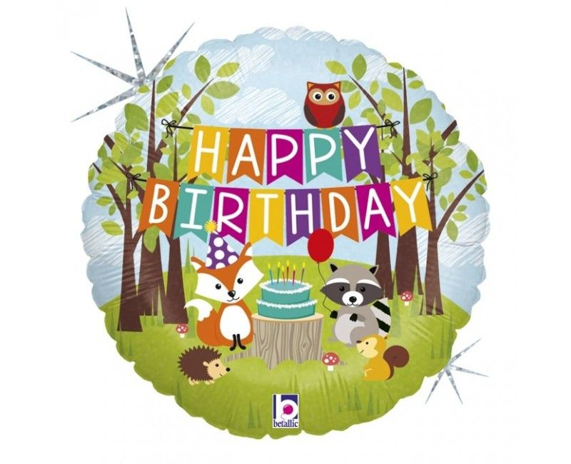 Folieballon 45cm woodland Happy Birthday