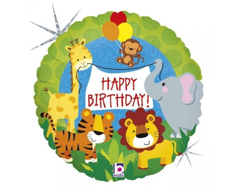Folieballon 45cm Jungle animals Happy Birthday