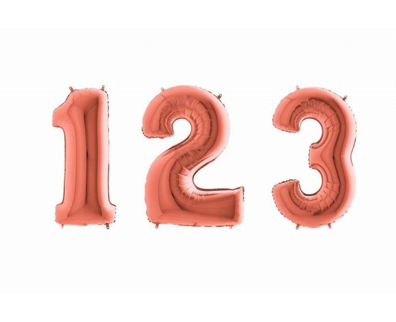 Folieballon cijfers 100 cm rose goud