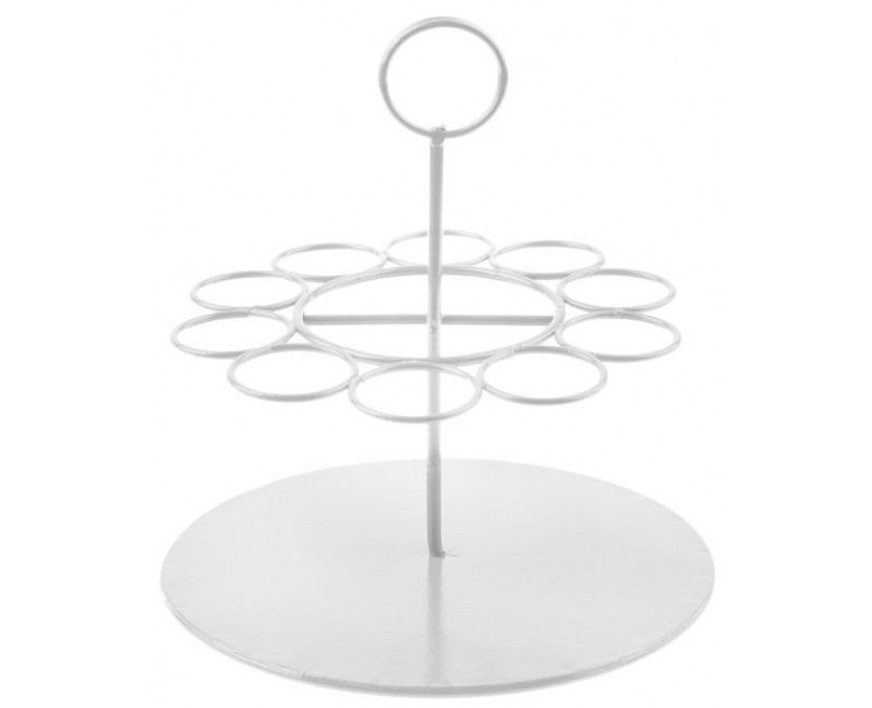 Decoratieve metalen houder voor glazen buisjes wit rond, diameter 14cm