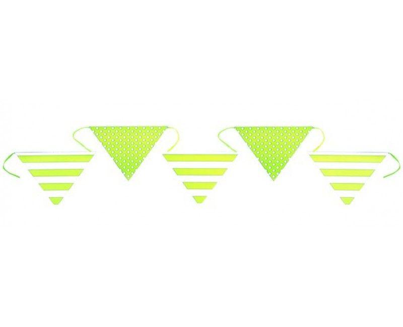 Papieren vlaggenlijn strepen en stippen, groen 6 meter