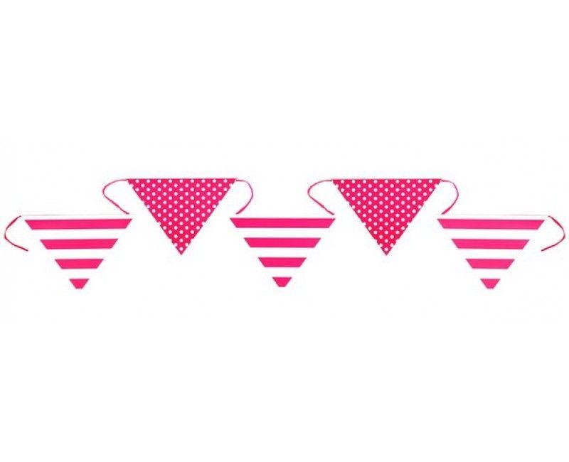 Papieren vlaggenlijn strepen en stippen, roze 6 meter