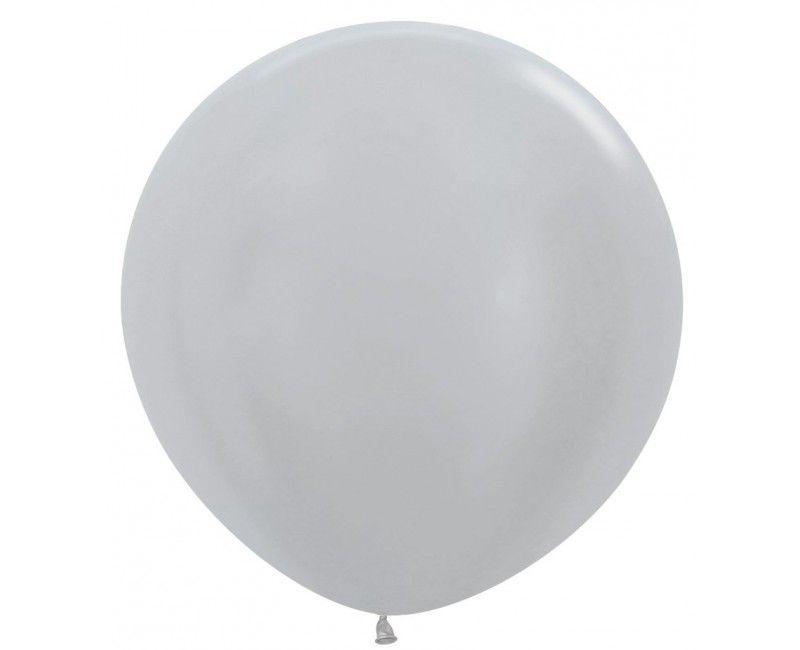 Sempertex ballon 90 cm pearl silver, 1 stuk