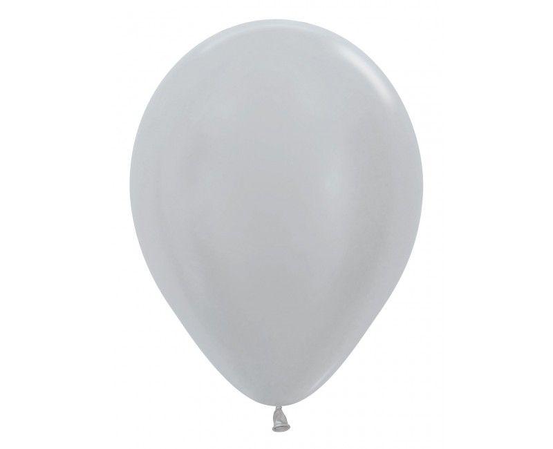 Sempertex ballonnen 12 cm pearl silver, 50 stuks
