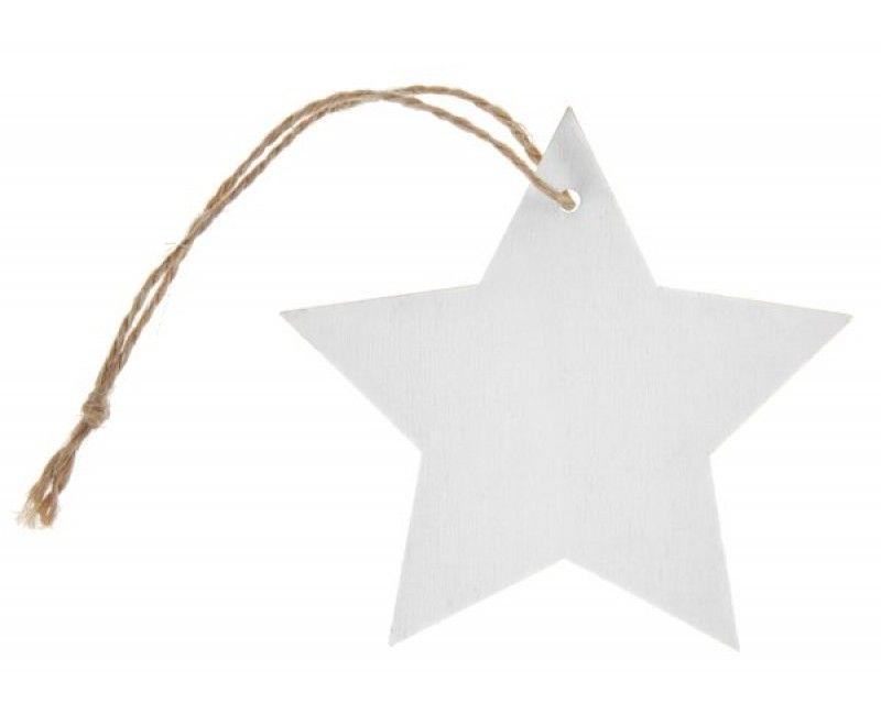 Houten naamkaartjes ster wit, 4 stuks