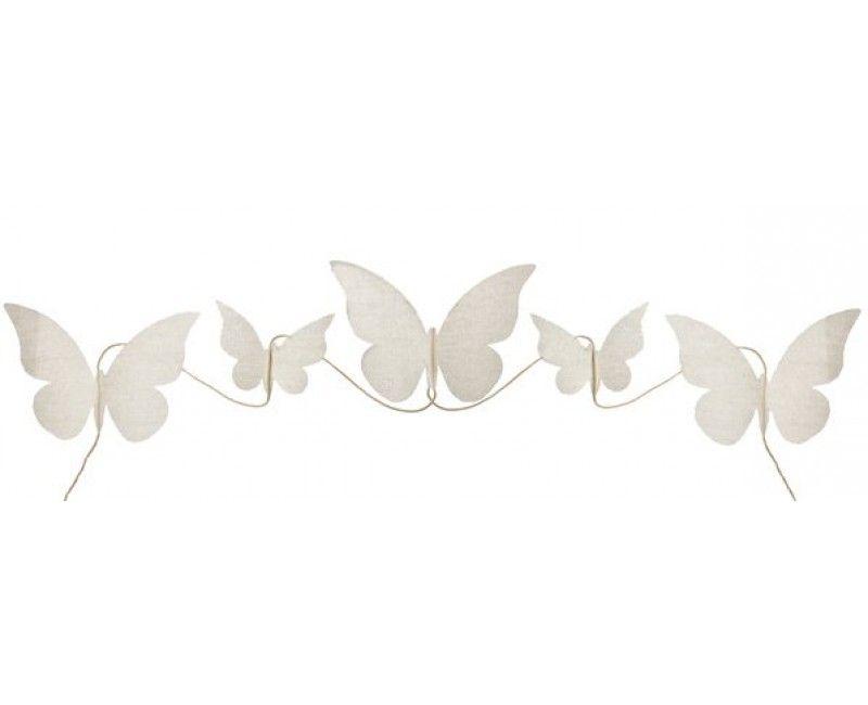 Stoffen vlinder slinger naturel, 150cm