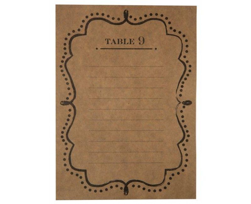 Tafelindelings kaarten kraft, 10 stuks
