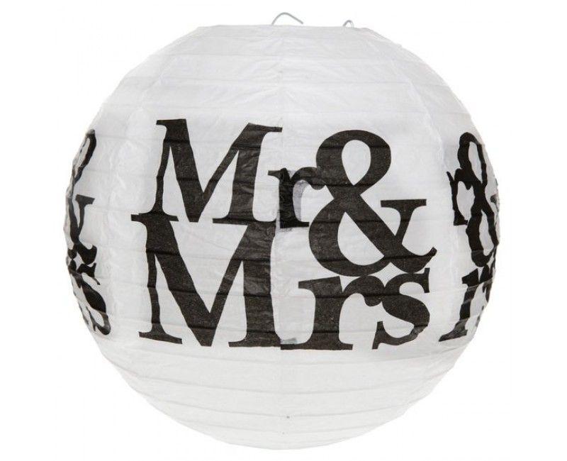 Lampion 20cm Mr & Mrs wit, 2 stuks