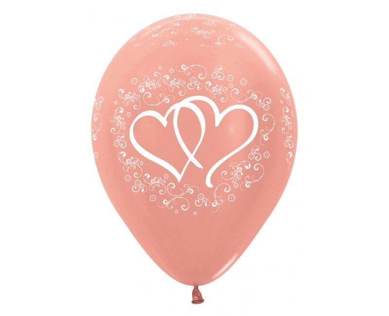 Sempertex ballonnen rose gold metallic verbonden harten, 25 stuks