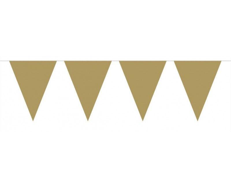 Vlaggenlijn slinger mini 3 meter goud