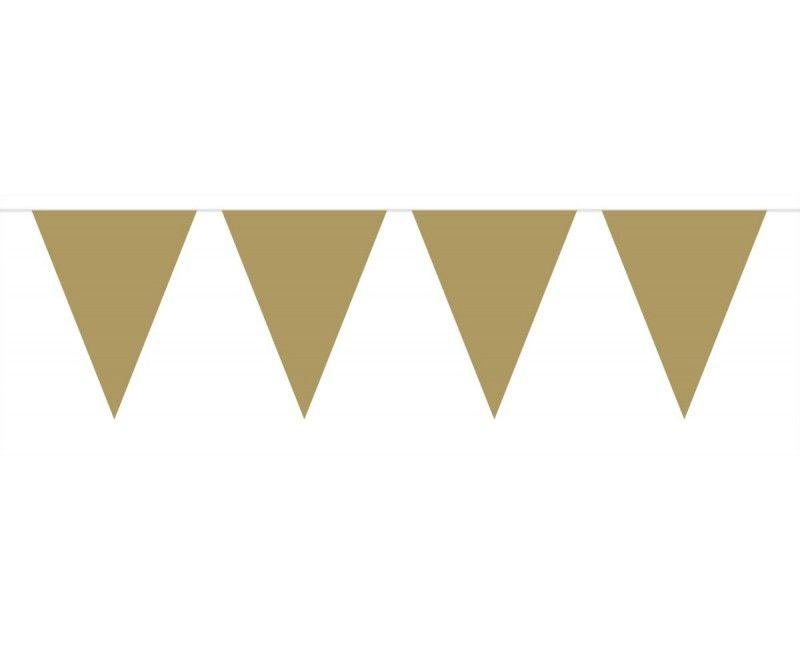 Vlaggenlijn slinger XL 6 meter goud metallic