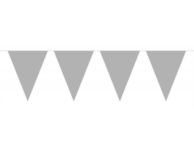 Vlaggenlijn slinger XL 6 meter zilver metallic
