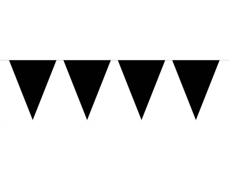 Vlaggenlijn slinger XL 10 meter zwart