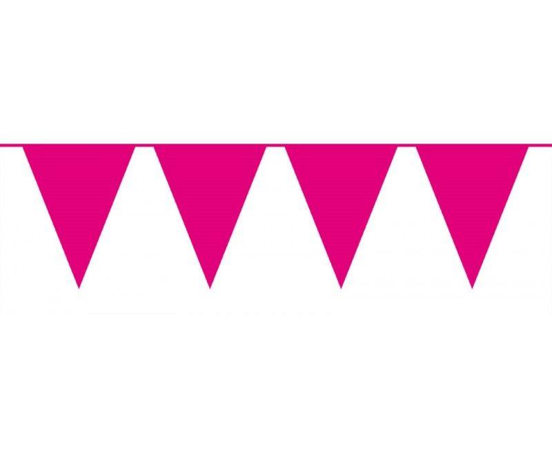 Vlaggenlijn slinger XL roze, lengte 10 meter
