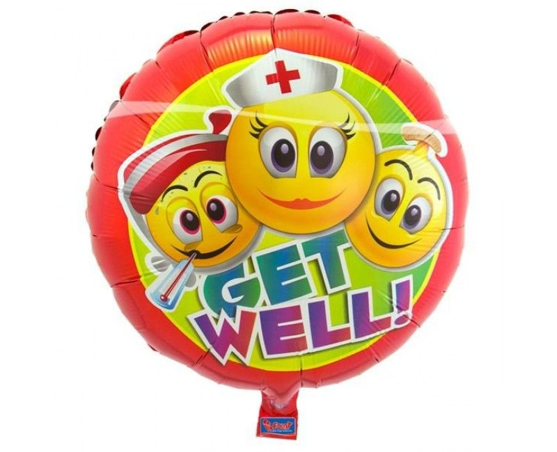 Folieballon emoticon Get well