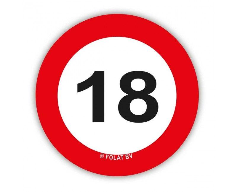 Tafelconfetti verkeersbord 18 jaar