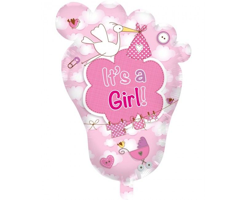 Folieballon Voet It's a girl supershape 70 x 102cm