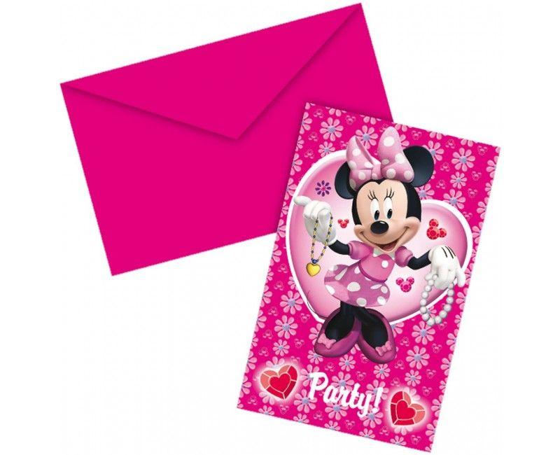 Uitnodigingen Minnie, 6 stuks