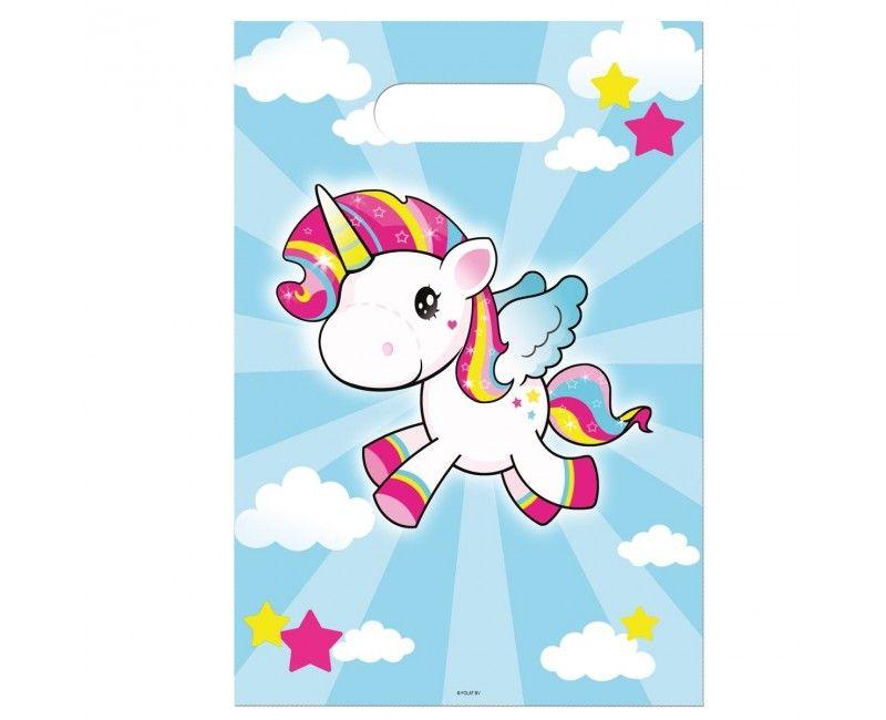 Uitdeelzakjes Unicorn, 8 stuks