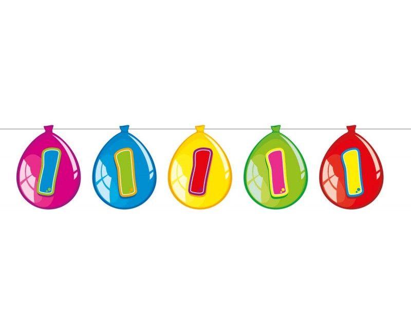 Papieren ballonnen slinger 1 jaar